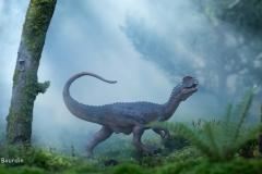 Dilophosaure dans la brume